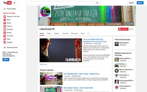 Screenshot of YouTube Page youtube.com - LifeInColorTV  - YouTube - captured Oct. 31, 2014