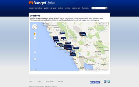 Screenshot of Locations Page budgetsocal.com - Locations - Budget SoCal - captured Oct. 5, 2014