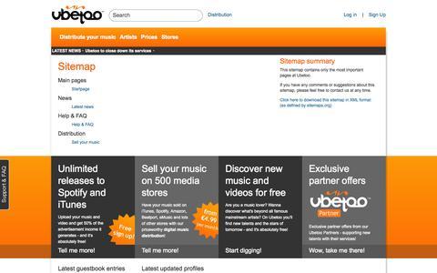 Screenshot of Site Map Page ubetoo.com - Sitemap on Ubetoo - captured Oct. 27, 2014