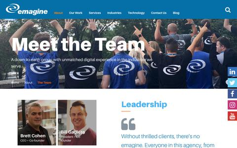 Screenshot of Team Page emagine.com - Meet the Team | emagine - captured July 18, 2018