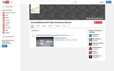 Screenshot of YouTube Page youtube.com - ConnectedHomes.EU Video Commerce Channel  - YouTube - captured Oct. 28, 2014