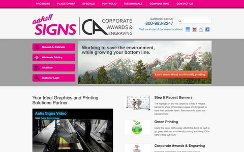 Screenshot of Home Page aahssigns.com - Signage and Graphics | Banners | Custom Car Wraps Solutions - Aahs Signs - captured Oct. 4, 2014