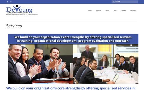 Screenshot of Services Page deyoungconsultingservices.com - Services - DeYoung Consulting Services, Minneapolis, Minnesota | Nationally Serving Nonprofits and Public Sector Clients - captured Oct. 5, 2014