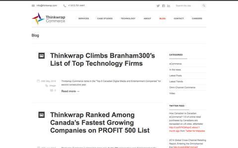 Screenshot of Blog thinkwrap.com - Retail eCommerce news, trends and events. | Thinkwrap Commerce - captured Sept. 22, 2014