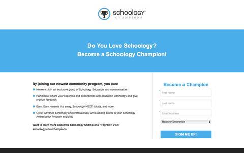 Screenshot of Landing Page schoology.com - Do You Love Schoology? Become a Schoology Champion! - captured Jan. 23, 2018