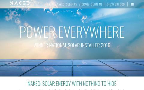 Screenshot of Home Page nakedsolar.co.uk - Naked Solar: Energy Experts: Winner Best UK Solar PV Installer - captured Nov. 23, 2017