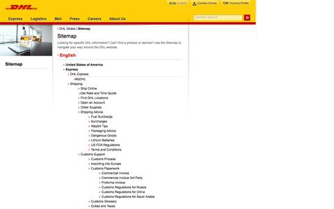 Screenshot of Site Map Page dhl.com - DHL | Sitemap | English - captured Sept. 19, 2014