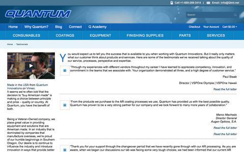 Screenshot of Testimonials Page qtmi.net - Testimonials - captured Sept. 3, 2017