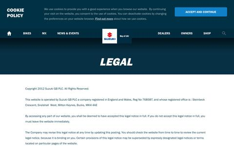 Screenshot of Terms Page suzuki.co.uk - Legal | Suzuki Bikes UK - captured Sept. 22, 2018