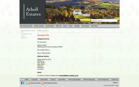 Screenshot of Press Page atholl-estates.co.uk - Media & PR - Contact Us - captured Oct. 29, 2014