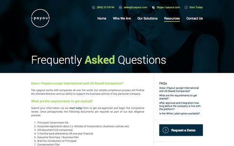 Screenshot of FAQ Page i-payout.com - I-Payout - captured Nov. 4, 2014