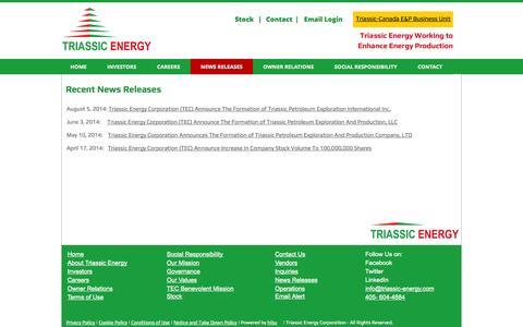 Screenshot of Press Page triassic-energy.com - NEWS UPDATES - triassicenergy704-84624-sml-1 - captured Oct. 7, 2014