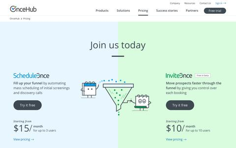 Screenshot of Pricing Page oncehub.com - OnceHub | Pricing - captured July 15, 2019