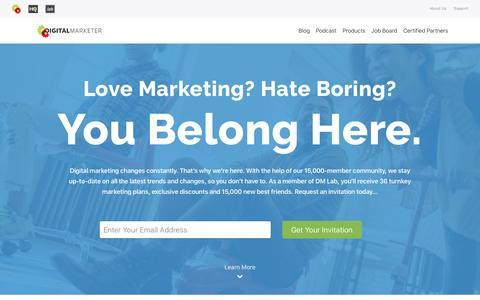Screenshot of Home Page digitalmarketer.com - DigitalMarketer | Marketing Strategies That Actually Work - captured April 24, 2017