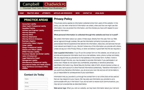 Screenshot of Privacy Page campbellchadwick.com - Privacy Policy | Campbell and Chadwick - captured Oct. 1, 2014