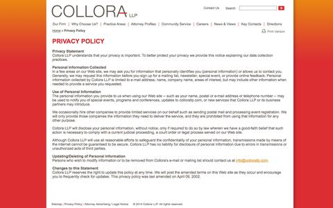 Screenshot of Privacy Page collorallp.com - Privacy Policy - captured Sept. 30, 2014