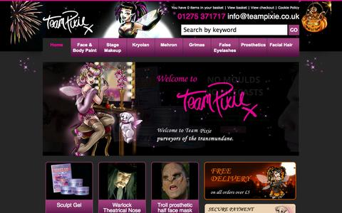 Screenshot of Home Page teampixie.co.uk - Home - captured Oct. 2, 2014