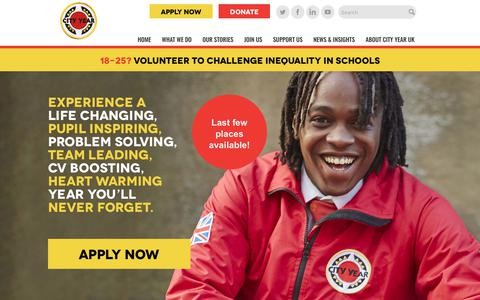 Screenshot of Signup Page cityyear.org.uk - Apply Now - - captured Aug. 1, 2017