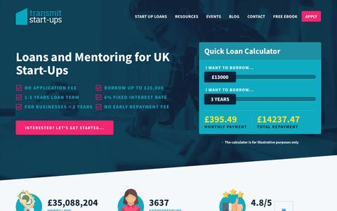Screenshot of Home Page transmitstartups.co.uk - Finance, Support & Mentoring for UK Start-up Businesses. - captured Sept. 22, 2018