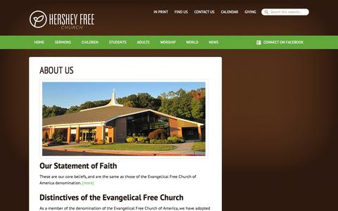 Screenshot of About Page hersheyfree.com - About Us - captured Oct. 3, 2014