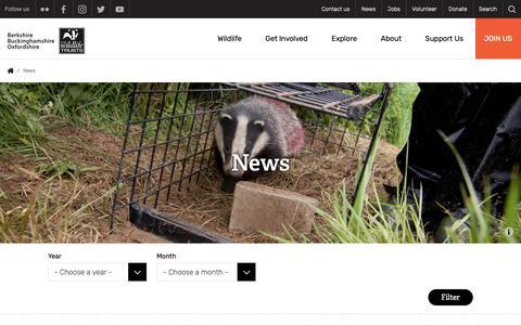 Screenshot of Press Page bbowt.org.uk - News | Berks, Bucks & Oxon Wildlife Trust - captured Oct. 5, 2018