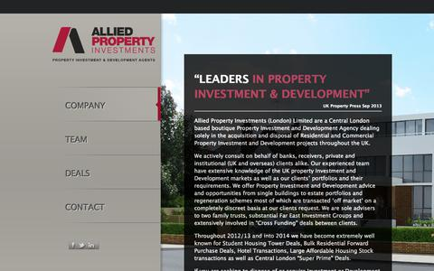Screenshot of Home Page api.uk.com - Allied Property Investments - captured Oct. 4, 2014