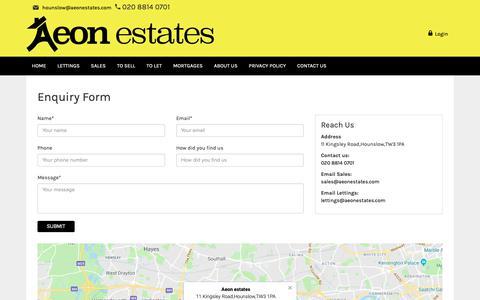 Screenshot of Contact Page aeonestates.com - Aeon estates - captured Oct. 3, 2018