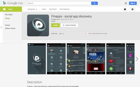 Screenshot of Android App Page google.com - Pinapps - social app discovery - Android Apps on Google Play - captured Oct. 22, 2014