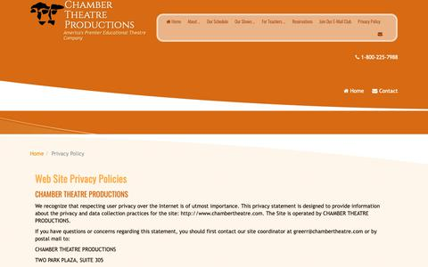 Screenshot of Privacy Page chambertheatre.com - Privacy Policy – Chamber Theatre Productions - captured Sept. 27, 2018