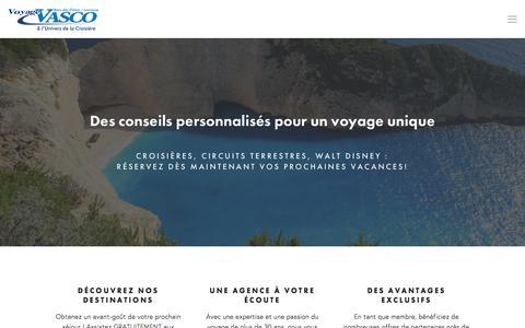 Screenshot of Home Page govasco.com - Agence de voyage I Voyage Vasco I Bois des Filion - captured Nov. 30, 2016