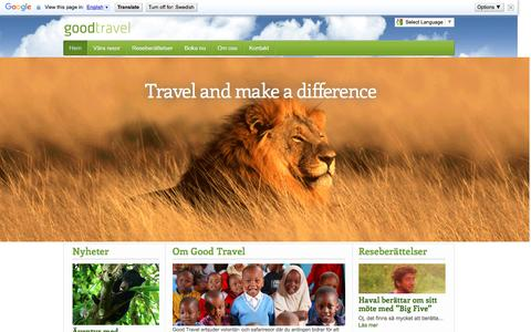 Screenshot of Home Page goodtravel.se - Safari i Afrika och Borneo för äventyrliga - Good Travel - captured Dec. 12, 2015
