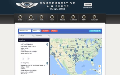 Screenshot of Locations Page commemorativeairforce.org - Unit Locations - captured Nov. 20, 2016