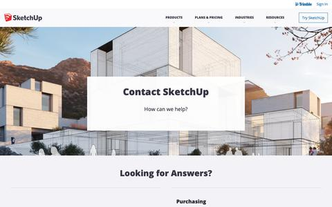 Screenshot of Contact Page sketchup.com - Contact Us | SketchUp Help - captured April 19, 2019