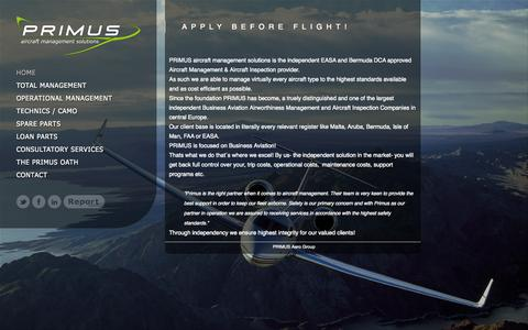 Screenshot of Home Page primus.aero - Primus Aircraft Management Solutions GmbH - captured Oct. 1, 2014