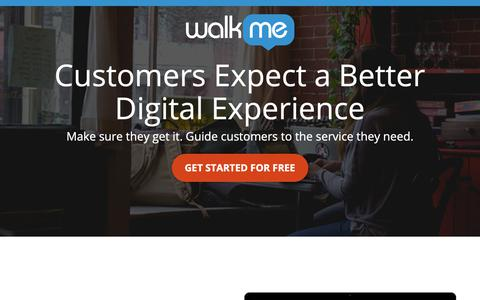 Screenshot of Landing Page walkme.com - Customers Expect a Better Digital Experience - WalkMe™ - Digital Adoption Platform - captured Sept. 27, 2018