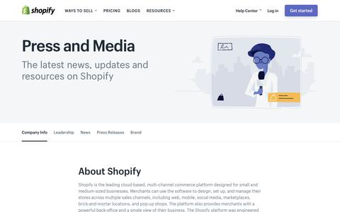 Screenshot of Press Page shopify.com - Shopify Press and Media - captured Oct. 13, 2017
