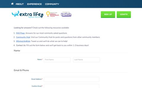 Screenshot of Contact Page extra-life.org - Play Games. Heal Kids. | Extra Life - captured Oct. 19, 2018