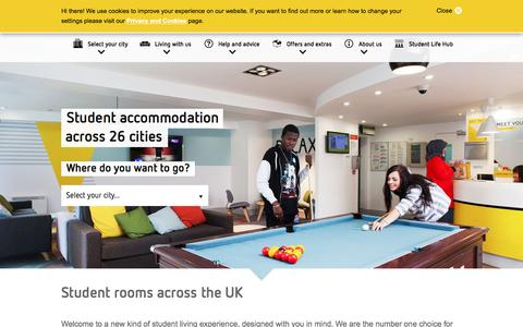 Screenshot of Home Page unite-students.com - Unite Students | Student accommodation across the UK - captured Sept. 5, 2016