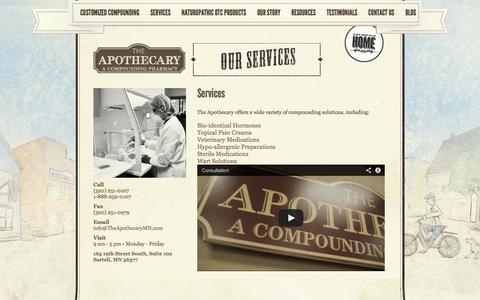 Screenshot of Services Page theapothecarymn.com - The Apothecary   A compounding pharmacy   St. Cloud   Sartell   MN - captured Oct. 6, 2014
