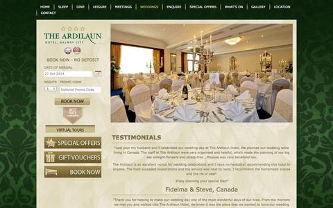Screenshot of Testimonials Page theardilaunhotel.ie - Testimonials - The Ardilaun Hotel Galway - captured Oct. 26, 2014