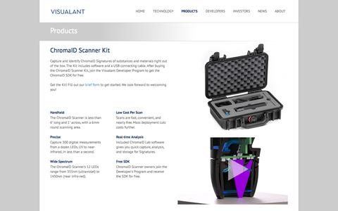 Screenshot of Products Page visualant.net - Visualant - Our Products - - captured Sept. 12, 2014