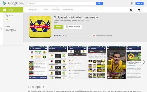 Screenshot of Android App Page google.com - Club América Clubamericanista - Android Apps on Google Play - captured Oct. 31, 2014