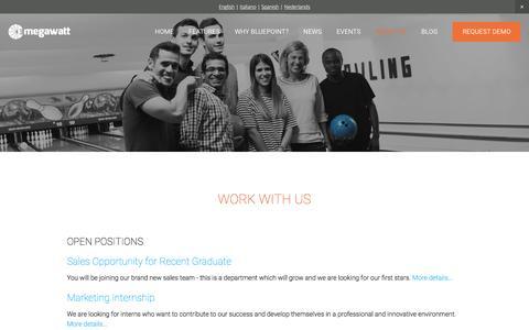 Screenshot of Jobs Page 3megawatt.com - Work with us Ń 3megawatt | Solar Asset Management Software - captured Jan. 12, 2016