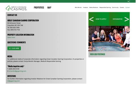 Screenshot of Contact Page gcgaming.com - Contact - Great Canadian Gaming Corporation - captured Dec. 26, 2016