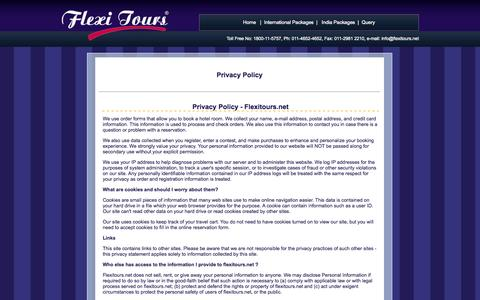 Screenshot of Privacy Page flexitours.net - Privacy Policy of Flexitours, Rule & Regulation of Flexi Tours, book a hotel room - captured Oct. 6, 2014