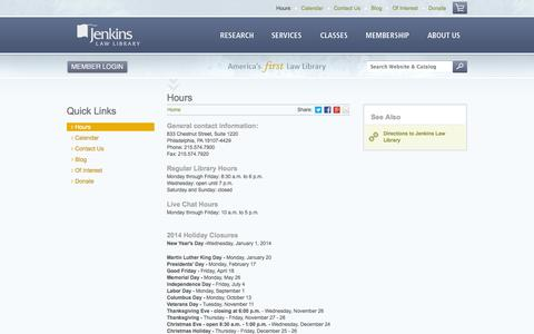 Screenshot of Hours Page jenkinslaw.org - Hours   Jenkins Law Library - captured Sept. 19, 2014