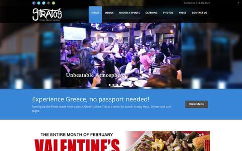 Screenshot of Home Page clubstratos.com - Stratos Global Greek Taverna - captured Feb. 16, 2016
