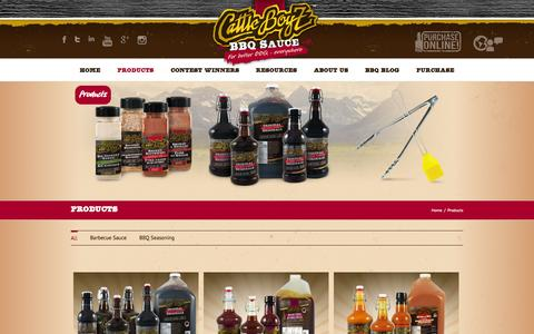 Screenshot of Products Page cattleboyz.com - Barbecue Products | CattleBoyZ BBQ Sauce | CattleBoyZ - captured Oct. 2, 2014