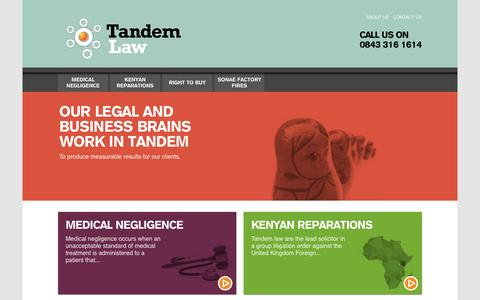 Screenshot of Home Page tandem-law.com - Tandem Law - captured Oct. 9, 2014
