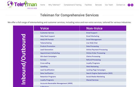 Screenshot of Services Page teleiman.com - Voice, Non-Voice, Email Support, Live Chat Services | Teleiman LLC - captured Oct. 20, 2018